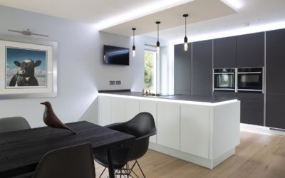 SLEEK ULTRA MODERN KITCHEN IN CARBON GREY AND MOHAIR